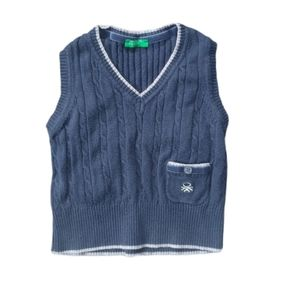 United Colors of Benetton Cable Knit Vest, Navy